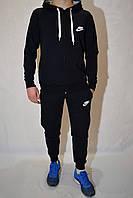 Спортивный костюм Nike из трикотажа (кофта с капюшоном, штаны на манжетах) - темно-синий