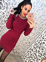 Стильное короткое платье со стразами мелкая машинная вязка красное, черное и марсала