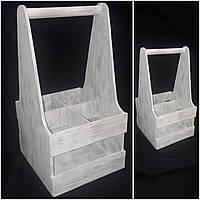 Ящик в стиле Прованс под 4 бутылки вина, дерево, ручная работа, 39х20х21 см., 250/220 (цена за 1 шт. + 30 гр.)