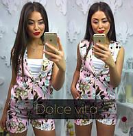 Женский стильный костюм: жилет и шорты с цветочным принтом