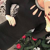 Стильное элегантное платье со стразами мелкая машинная вязка черный