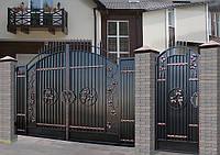 """Ворота кованые с калиткой и установкой. Покраска с гарантией, эмалью """"Снежка"""", Польского пр-ва."""