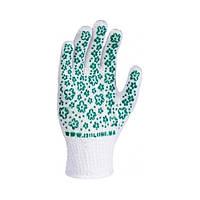 620 Рукавиці Жіночі БІЛІ/ зелене ПВХ квітка Doloni