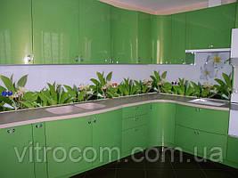 Кухонний фартух з скла білі квіти