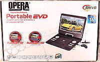 """Автомобильный портативный проигрыватель Opera DVD 16"""" USB+TV  с аккумулятором"""