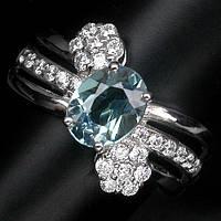 """Красивое колечко """"Петля"""" со шпинелью, меняющей цвет и белыми сапфирами , размер 17.2 студия LadyStyle.Biz, фото 1"""