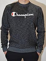 Мужская толстовка - свитшот Champion (Чемпион) - трикотаж, трехнитка, черный