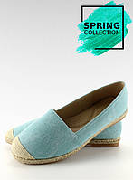 02-24 Голубые женские эспадрильи с лянными носками jh23p 40,37,36