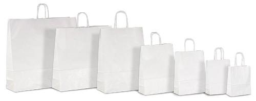 Белые бумажные пакеты с кручеными ручками, печать на пакетах