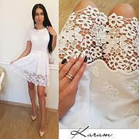 Женское стильное хлопковое белое платье прошва