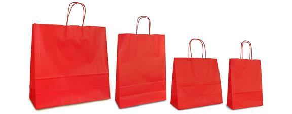 красные крафт-пакеты с кручеными ручками, печать на пакетах Днепр