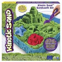 Kinetic Sand & Kinetic Rock.  Набор песка для детского творчества - ЗАМОК ИЗ ПЕСКА (зеленый, 454 г, формочки, лоток) (71402G)