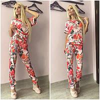 Женский стильный костюм с цветочным принтом: футболка,штаны + (Большие размеры)