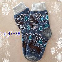 Женские теплые новогодние носки с оленями, р.37-38 синие