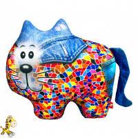 Антистрессовая игрушка мягконабивная Soft Toys Кот, джинсовый