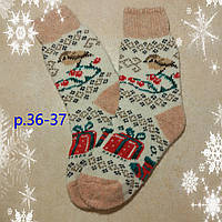 Женские теплые носки с новогодним рисунком, р. 36-37