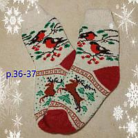 Женские новогодние носочки с оленями, р. 36-37, теплые носки на подарок