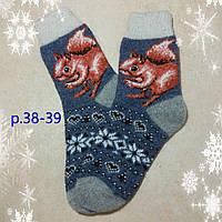 Женские новогодние носочки с белочкой, р.38-39 теплые носки