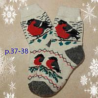Женские теплые шерстяные носки Снегири, р. 37-38