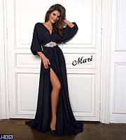 Шикарное женское длинное платье из шелка с огромной брошью на талии черного цвета. Арт - 18831
