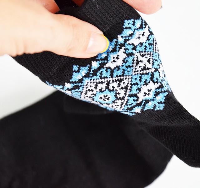 вязаные женские носки с синим украинским орнаментом Мереживо