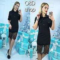 Женское стильное платье-рубашка с кружевом (4 цвета)