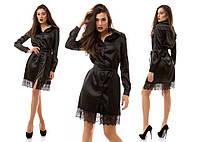 Женское модное атласное платье-рубашка с кружевом и поясом (4 цвета)