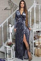 Нарядное женское платье из мокрого бархата на запах под пояс цвет серебро.  Арт - 18832
