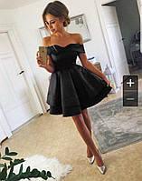 Женское платье с открытыми плечами и двойной юбкой