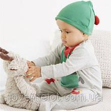 Детский человечек хлопковый нарядный с шапочкой Next Некст Эльф размеры 62см, 68см, 74см для малыша