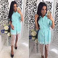 Модное летнее платье-рубашка с кружевом (2 цвета)