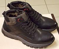 Ботинке мужские зимние кожаные на меху Черные