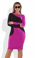 Платье фиолетовое с черными полосами батал ПБ-100