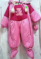 Комбинезон с капюшоном зимний для девочки, розовый мишка
