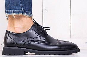 Классические мужские туфли броги черные (экокожа) (реплика)