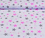 """Отрез ткани №983 """"Звёздная россыпь"""" розово-серая на белом фоне  , фото 2"""