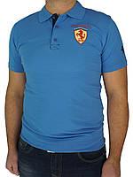 Однотонная мужская тенниска Ferrari 4320 синего цвета