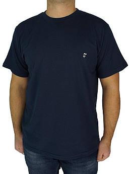 Мужская однотонная футболка Neti MSY-001 темно-синяя (Польша)