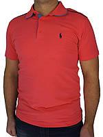 Яркая коралловая мужская тенниска Поло 0270 (Турция)