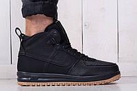 Мужские зимние стильные кроссовки Nike Lunar Force 1 Black (реплика)