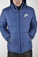 Куртка молодежная с капюшоном зимняя Nike Blue