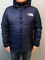 Куртка молодежная с капюшоном зимняя The North Face Blue
