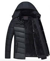Парка мужская длинная на зиму Black-Grey Classic GYFS-Fur