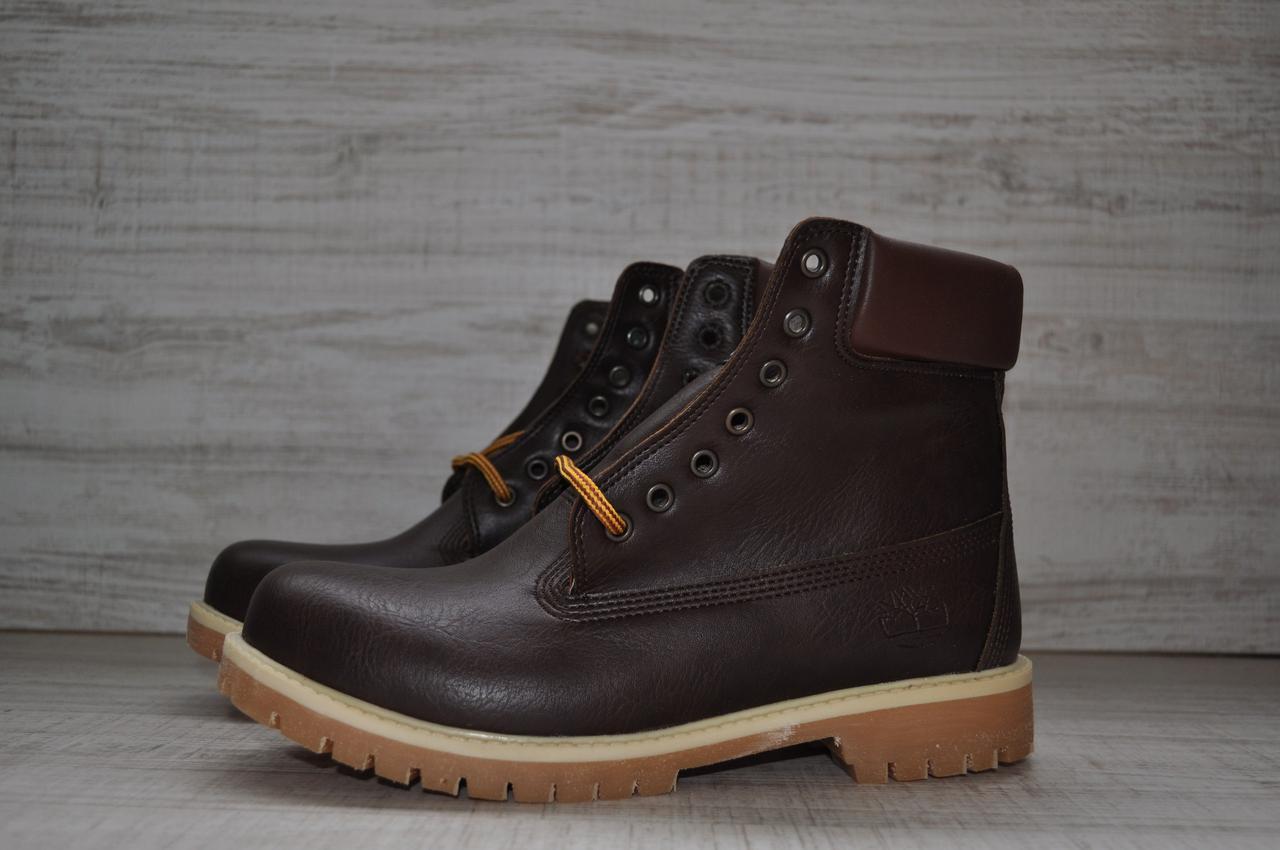 Кожаные зимние мужские ботинки Timberland (реплика) коричневые (реплика) e028f3db03f