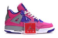 Женские кроссовки Jordan Retro 4  (Pink/FoilWhite/CementGrey), фото 1
