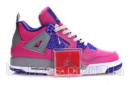 Женские кроссовки Jordan Retro 4  (Pink/FoilWhite/CementGrey)