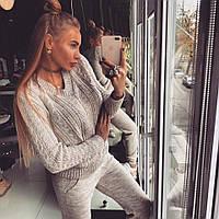 Женский модный теплый вязаный костюм: свитер и штаны (4 цвета)