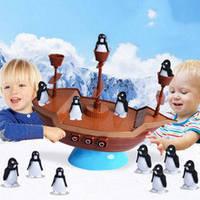 Детская веселая игра Пиратский корабль с пингвинами Boat Pirates, держи равновесие