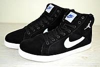 Мужские зимние кроссовки теплые, Nike Jordan черные (реплика)