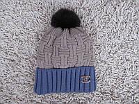 Вязаная теплая шапка зимняя 092